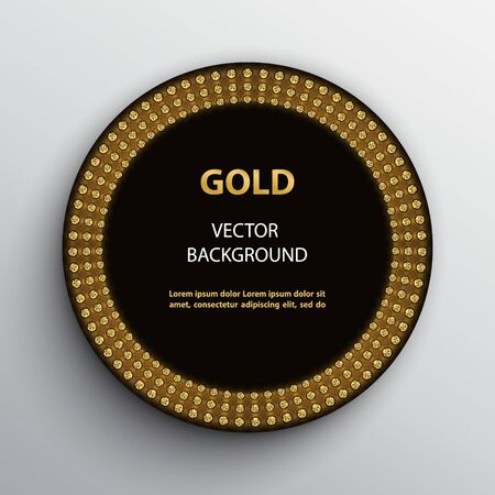 Round black poster with golden neon light frame on white background.