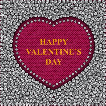 Red denim heart with silver sequins outside and greeting on Valentine 's Day. 向量圖像