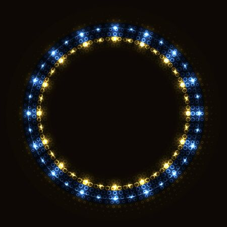 Abstract blue golden round frame with lights.