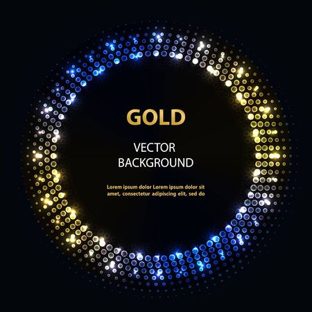 Abstract vector blue gold circle frame with lights on black background.