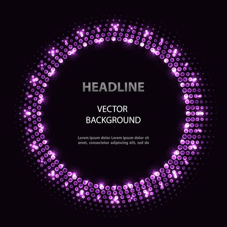 Abstract vector violet circle frame with lights on black background. 向量圖像