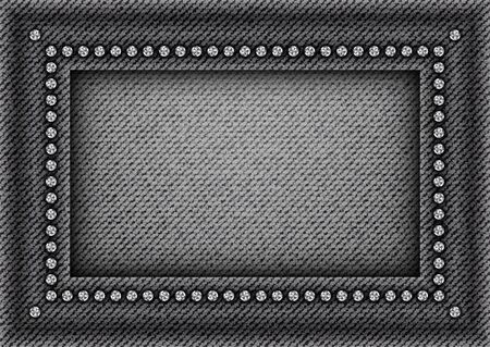 Vector black denim frame with silver rhinestones on denim background. Vector Illustratie