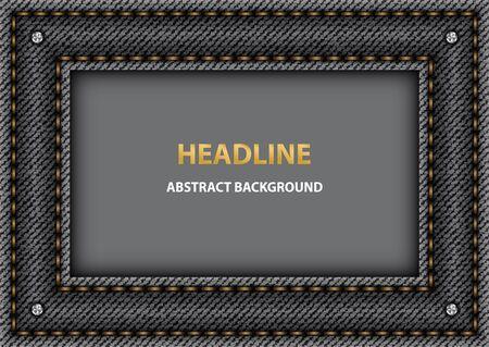 Vector black denim frame with orange stitchers.