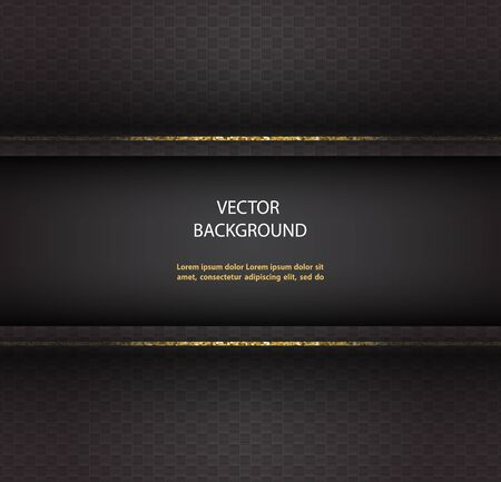 Abstract vector black background with glittering golden lines.