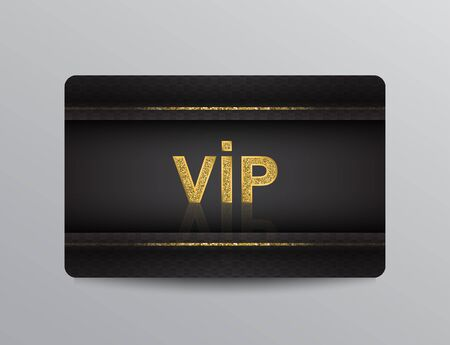 Black VIP member card template with golden glittering stripes and VIP sign.