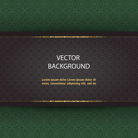Abstract vector green background with black tile board and glittering golden lines.