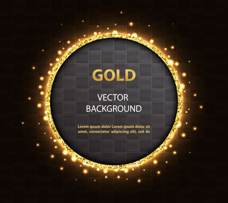 Abstract black background with golden round glittering frame and square tiles.