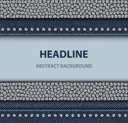 Denim design with round silver sequin elements on blue jeans background.