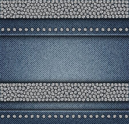 Denim stripes with round silver sequin elements on blue jeans background.