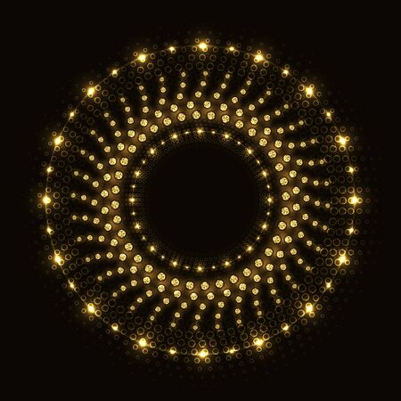 Shiny round abstract golden ring with lights and rhinestones on black background.