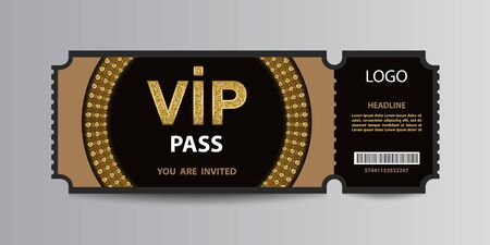 Black VIP admission ticket stub template with golden glittering VIP sign and sequin circle. Ilustracja
