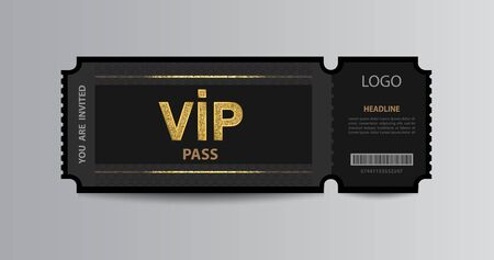 Stub black VIP admission ticket stub template with golden glittering VIP sign.