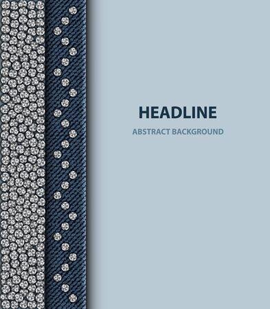 Design with round silver sequin elements on blue denim background.