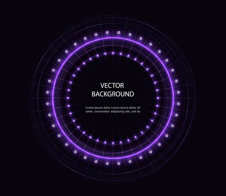 Abstract vector violet motion circle with diamonds on black background.