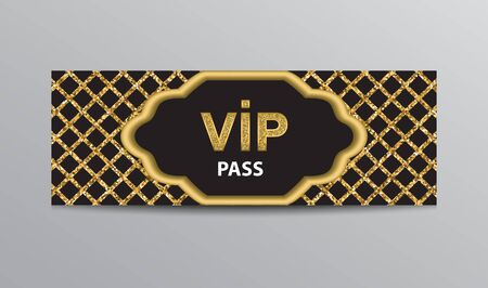 Black VIP admission ticket template with golden glittering VIP sign and square grid background.
