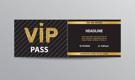 Black VIP pass coupon template with golden glittering VIP sign.