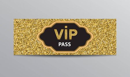 Glittering VIP admission ticket template with golden VIP sign. Ilustracja