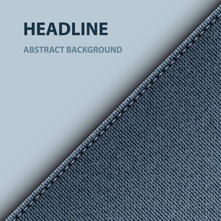 Blue denim diagonal design with paper area. 向量圖像