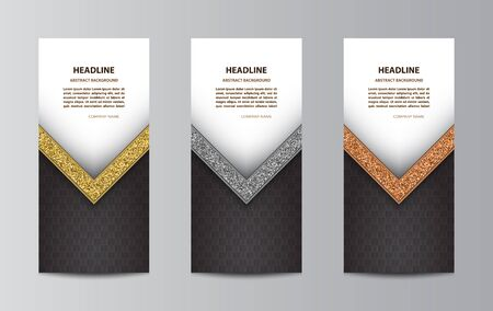 Set of black tri-fold brochure template layouts with glittering angle.