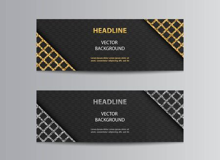 Black abstract vector banner templates with square background and golden or silver glittering lattice angles.