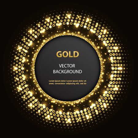 Abstract vector golden circle frame with lights and glittering elements on black background.  Ilustracja