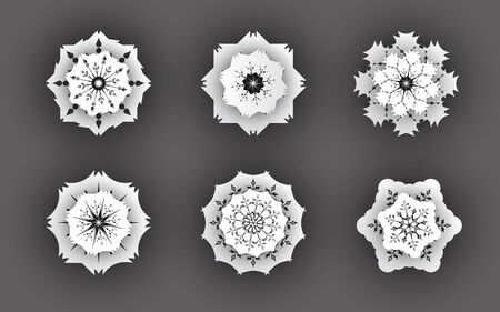 Vector abstract white paper 3d snowflake symbols with shadow.