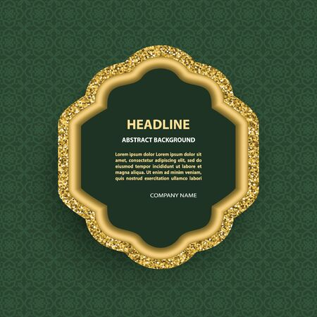 Vector poster with golden glittering arabic frame template on green pattern background.