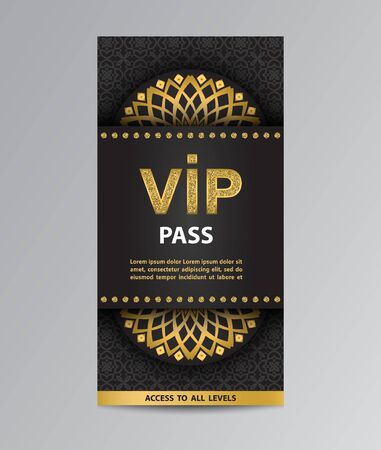 Black VIP pass admission flyer template with golden glittering VIP sign, mandalas and pattern background.