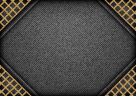 Vector black denim design with golden glittering lattice angles on denim background.