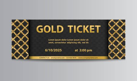 Golden black vector ticket template with glittering lattice.