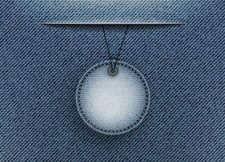 Blue denim vector design template with hanging badge from slit. Ilustracja