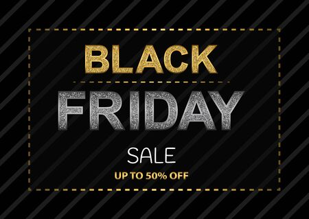 Black Friday poster with glittering golden and silver letters on black background.