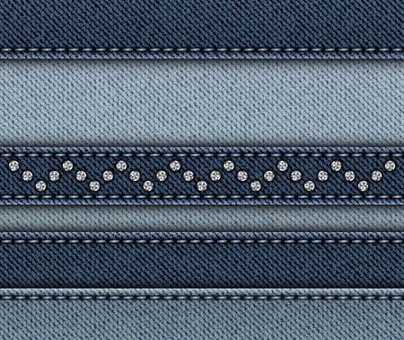 Blue denim design with horizontal stripes with stitches and sequin zig-zag.