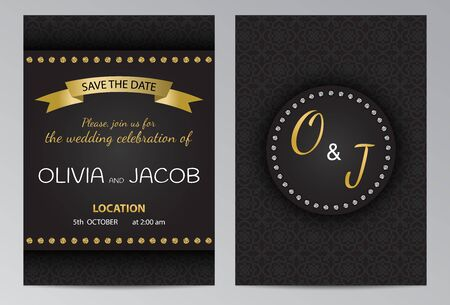 Wedding invitation brochure template with golden and silver elements on black pattern background. Ilustracja