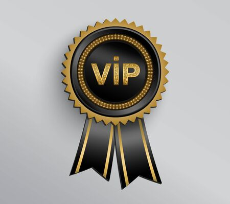 Vector black round VIP badge with ribbons and golden glittering VIP sign.