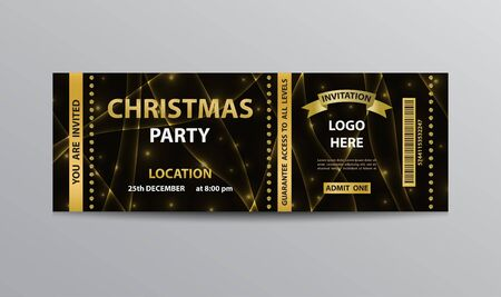 Invitation coupon template for Christmas party. Ilustracja