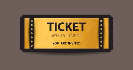 Yellow vector stub ticket template with golden sequin elements.