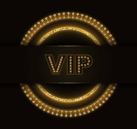 Abstract vector shiny VIP design with golden burning glittering circles on dark background.  Ilustracja