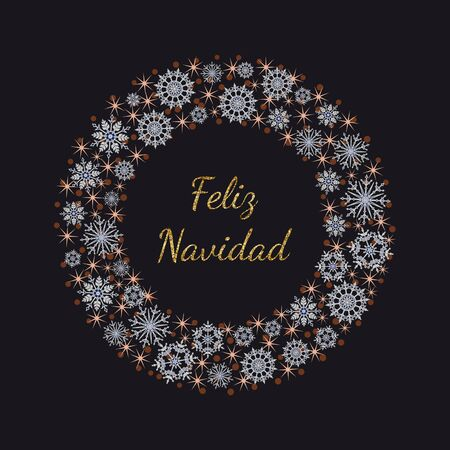 Vector design with golden glittering lettering Feliz Navidad - Merry Christmas in Spanish language.  Wreath with white snowflakes and pink stars on dark background.