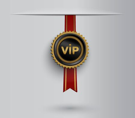 Vector black round badge with golden glittering VIP sign hanging on red ribbon.  Ilustracja