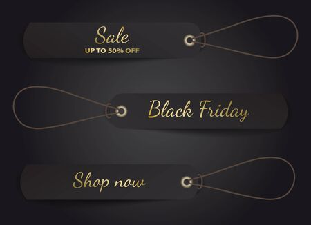 Black Friday vector design with black rectangle tags on rope.