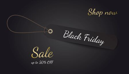 Black Friday vector poster with black rectangle tag on rope.