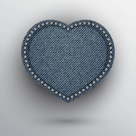 Vector blue denim heart frame with silver sequins on boundary.