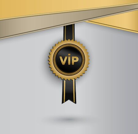 Vector black round badge with golden glittering VIP sign hanging on black ribbon.