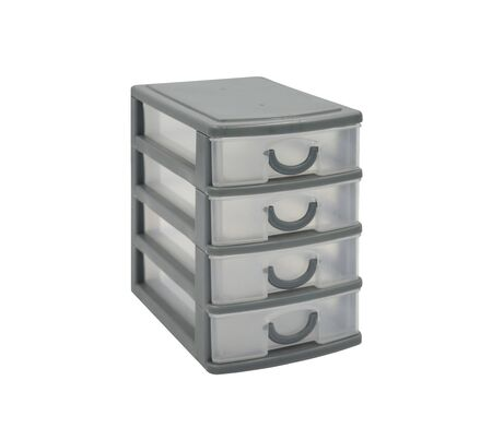 Plastic container with four drawers isolated on white background.