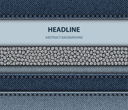 Vector blue denim design with stitching stripes, round silver sequins and area for image or text.