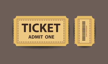 Vector yellow paper stub ticket with two parts separately.