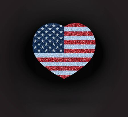 Vector glittering heart with flag USA on black background.