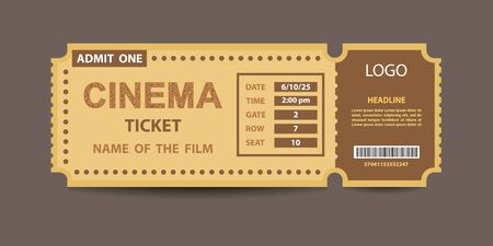 Yellow cinema admission ticket stub vector template with glittering cinema sign.