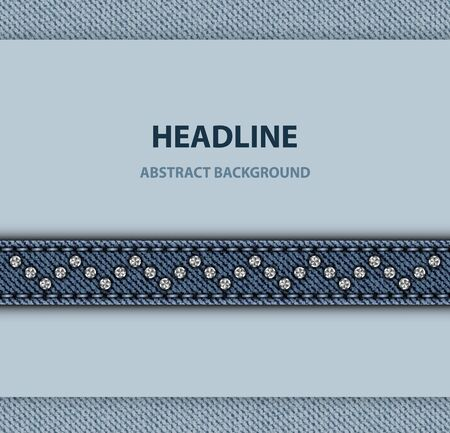 Vector mockup with horizontal blue denim stripe with stitches and sequin zig-zag.